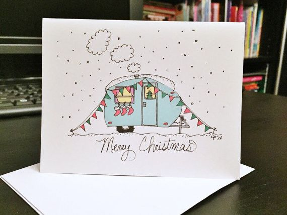 This is a blank note card of an original illustration created by artist Crystal Pittman. There are 10 cards to a pack. Front Cover: Colorful Camper / Travel Trailer Inside: Blank Back Cover: Small Pit