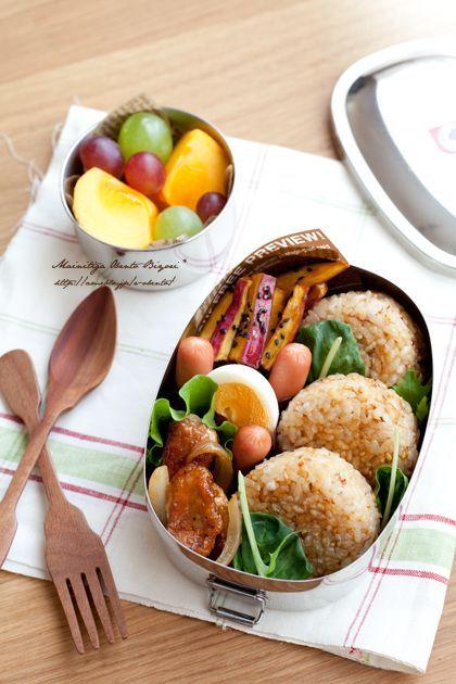 (4106) 焼きおにぎりのお弁当 | Japanese Food | Pinterest