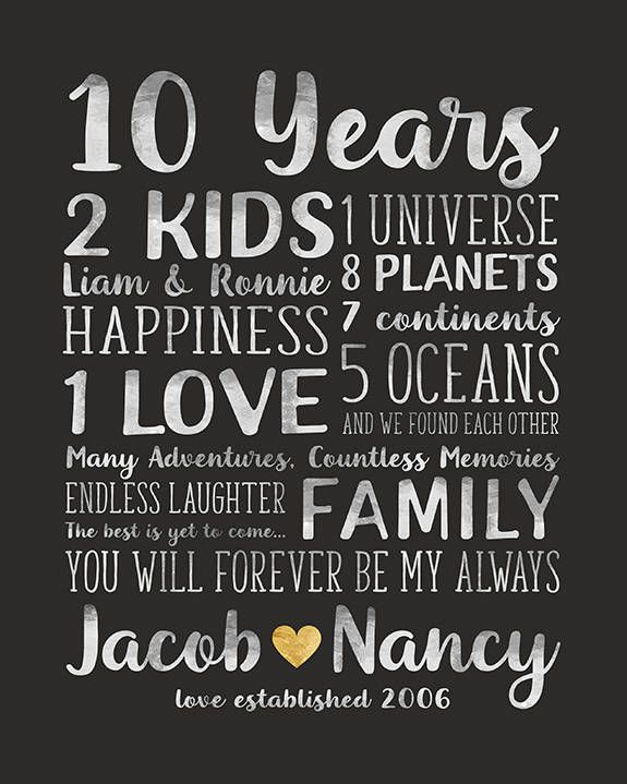 Anniversary Gift For Husband And Wife Relationships Dating Etsy Anniversary Gifts For Husband 10 Year Anniversary Gift Anniversary Quotes For Wife