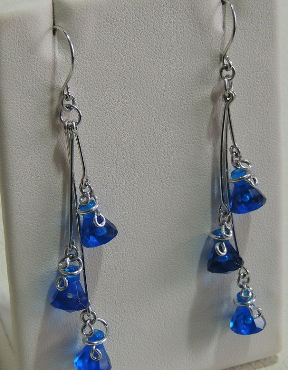 Translucent Blue Triple Lego Drop Earrings with by StarTideDesigns, $35.00