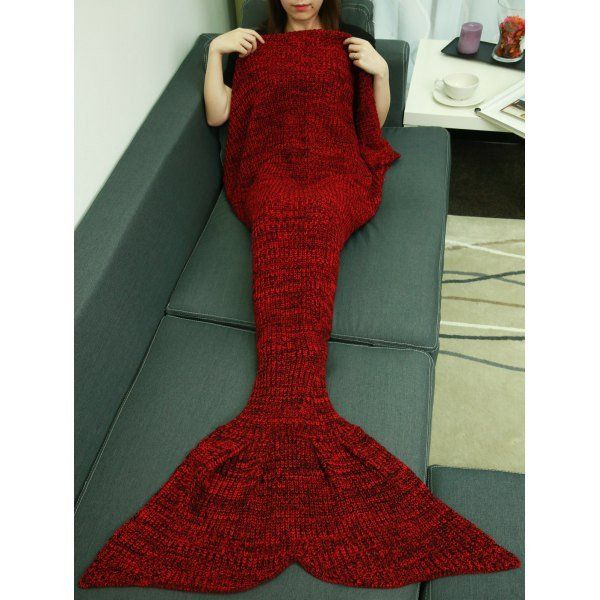 "Beautiful Deep Red Knitted Fish Tail Blanket. Material: Acrylic Size Large 62"" x 32"" (size approximate) Please allow up to 3 weeks for delivery. FREE Shipping."