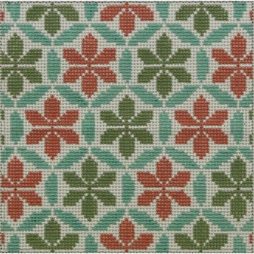 Teal-coral geometric hand painted needlepoint design by Alice Peterson