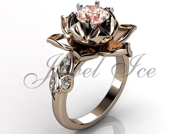 14k rose gold diamond unique morganite lotus flower engagement ring, bridal ring, wedding ring, anniversary ring. Mysterious and sensual flowers are one of my traditional sources of inspiration and an opportunity to express its unique and unusual creation, motivated by high fashion design. This lotus flower engagement ring has 8 VS/SI G - color diamonds with a total weight of approx. 0.08 ct. The center stone is 1.0 ct. high quality Morganite. Approximate dimensions of the top lotus ...