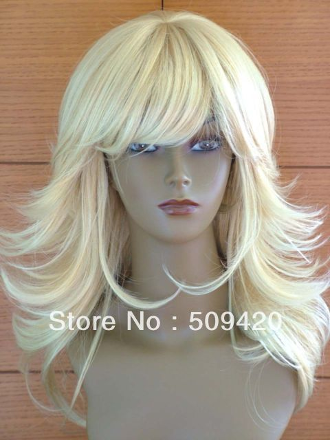 Free Shipping>>> Ladies Long Blonde Wig Blend Wispy Style Woman Blonde Wig