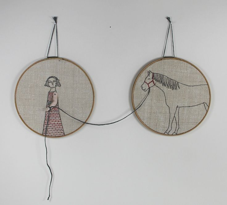 Clever!  Hand embroidery hoop art-  girl and her horse textile art fiber art. $275,00, via Etsy.