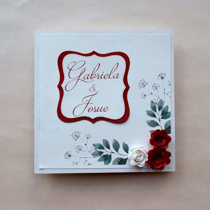 Invitación para Boda o XV Años, romántica con detalles de rosas en 3d, muy original y personalizada con los nombres de los novios, se aceptan pedidos mínimos de 30 piezas. #OndineCollection #tiendaonline #bodas2017 #boda #invitaciones
