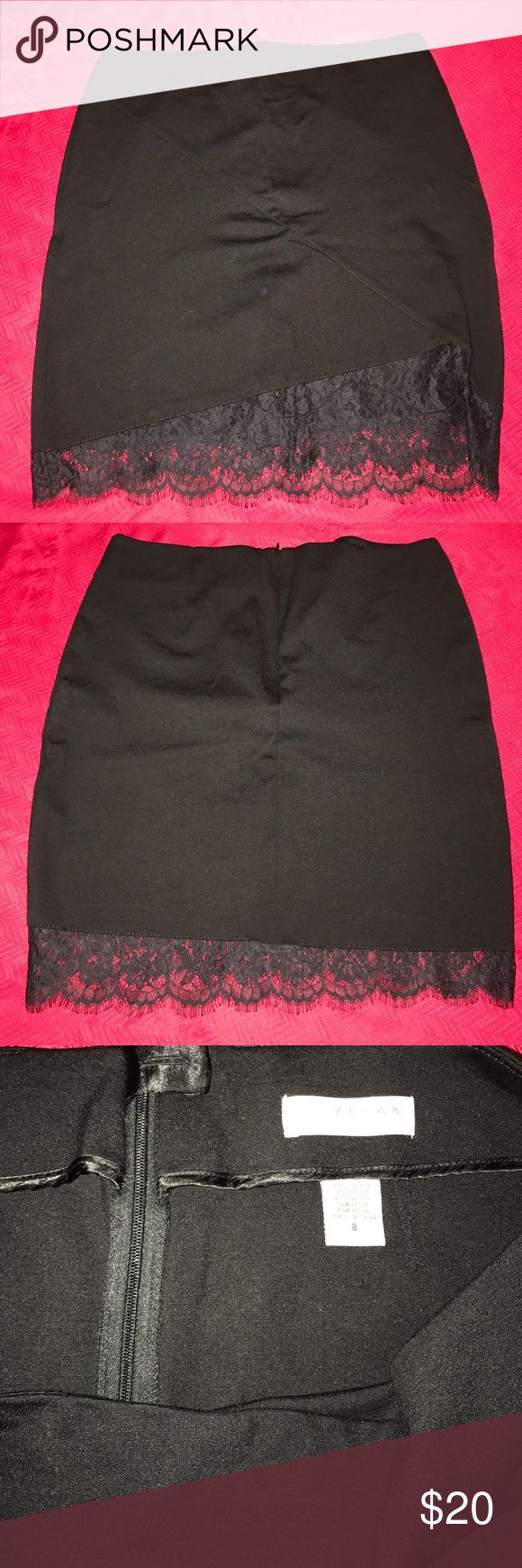 Lace Trimmed Skirt Lace Trimmed Skirt by KENAR  | Above the Knee Length | 70 % Viscose | 4 % Spandex | 25 % Nylon | Back Zip | Great Condition | Worn a few times Kenar Skirts Pencil