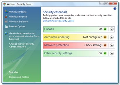 Windows Security Center is a component of the Windows operating system, that was introduced by Microsoft in Windows XP and included in Windows Vista too. The program helped you keep a check on your system, by monitoring regularly the status of several security issues like