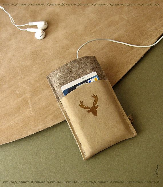 iPhone 5 /4 /3 wallet sleeve BAVARIAN DEER german wool felt and leather wallet and sleeve for your iPhone