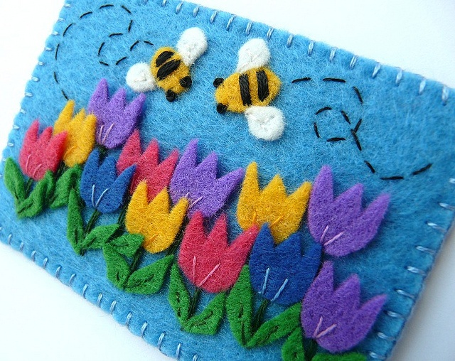 felt tulip garden...I can see a little girls blue gingham dress with this applique....