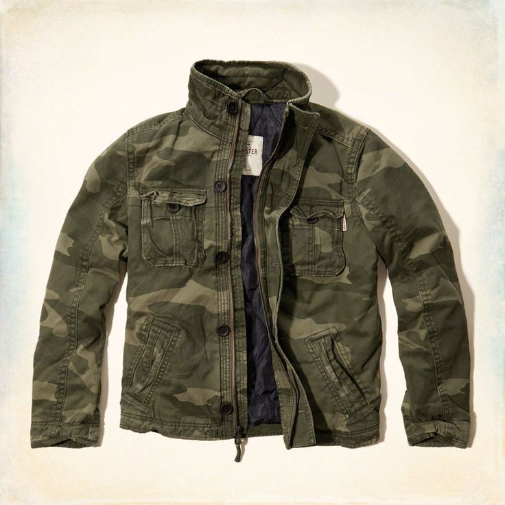 NWT Hollister by Abercrombie Mens Twill Blend Military Army Camo  Jacket M #Hollister #Military