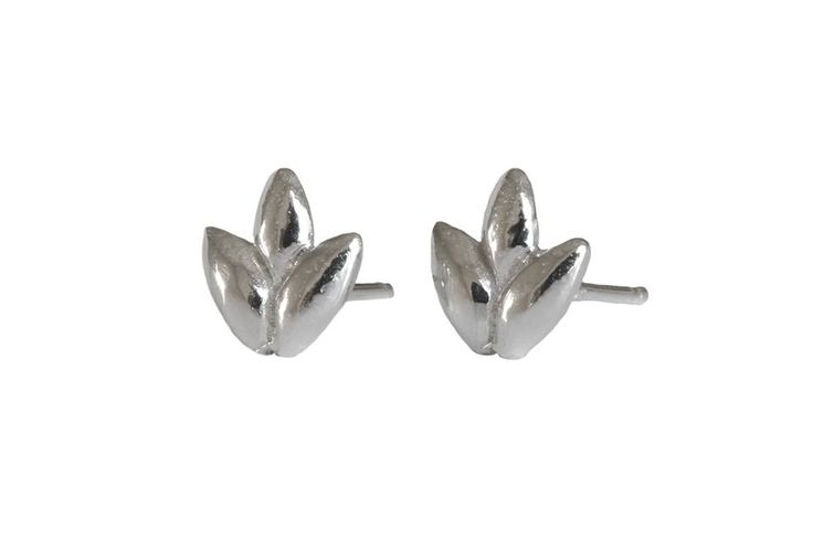 Foliage studs; Material: sterling silver