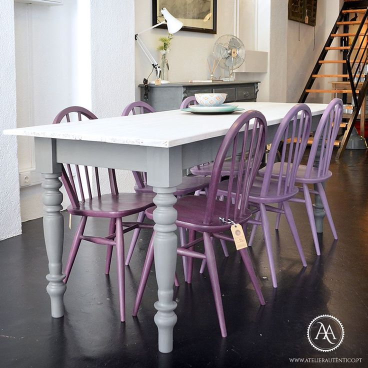 Chairs were painted with varying mixes of Emperor's Silk, Napoleonic Blue, Aubusson Blue and Pure White Chalk Paint® by Annie Sloan. They're by Lisbon, Portugal stockist Atelier Autêntico.
