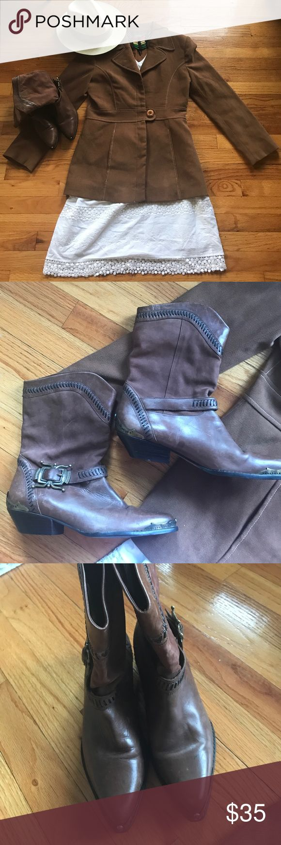 """Vintage Circle S brand cowboy boots Super cute brown Circle S cowboy boots in good used condition. These are vintage cowboy boots and have the expected wear and tear that a vintage cowboy boot should have. Lower portion is leather and upper portion is suede. I tried to Capture the few blemishes and photos but they didn't show well. Gorgeous! Height is 10"""" and  includes the 1 inch wooden heel. Vintage jacket, skirt and accessories Not included or available for purchase. Circle S Shoes"""