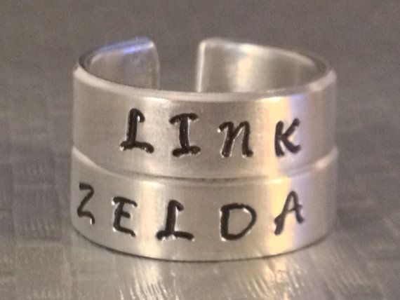 Link and Zelda Ring Set - Best Friends - Couples Ring Set    Legend of Zelda Inspired on Etsy, $20.00