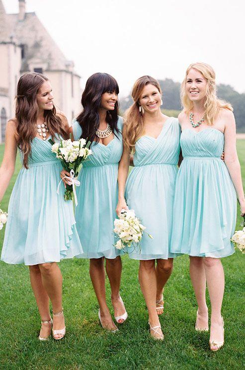 Beautiful aqua color short bridesmaids dresses. Donna Morgan, Spring 2014