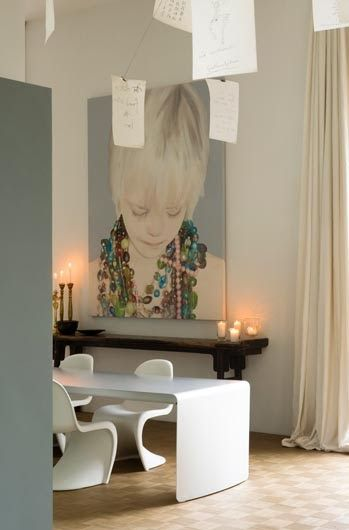 Oversized portrait-if I ever have a fun house to decorate Im going all arty and minimalist. LOVE!