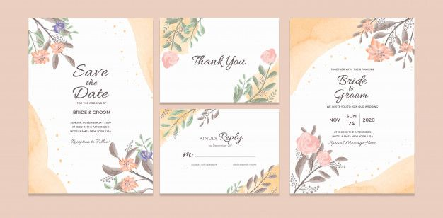Wedding Invitation Card Template With Watercolor Floral Frame