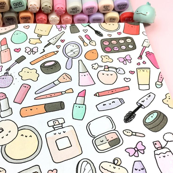 "8,708 Likes, 24 Comments - ⭐️KiraKiraDoodles (@kirakiradoodles) on Instagram: ""Cutie Cosmetics ✨ not a Coloring Book, but my sketchbook ✨ but since this was so much fun to…"""