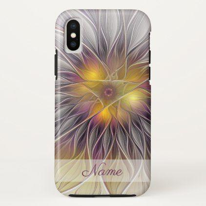 Luminous Colorful Flower Modern Fractal Name iPhone X Case - cyo diy customize unique design gift idea perfect