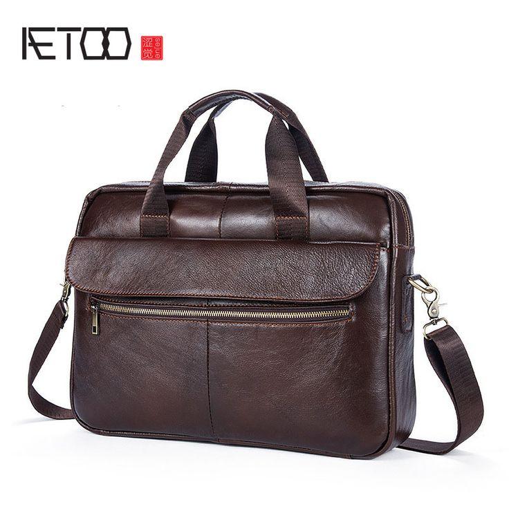 AETOO Handbag Men Bag Leather Briefcases For Lawyers Shoulder Bags Genuine Leather Male Messenger Bags Handbags Men Office Bag #Affiliate