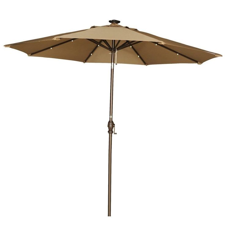 Abba Patio 9-Foot Brown Tilt/Crank Umbrella with Solar Powered LED Lights (Brown) (Polyester) #APSAP9388BW