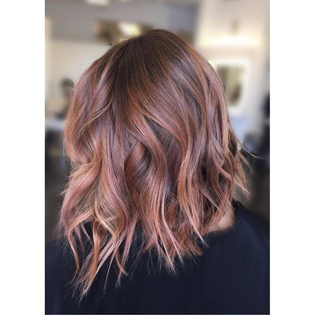 Darker pink option. Peachy Rose Gold Balayage