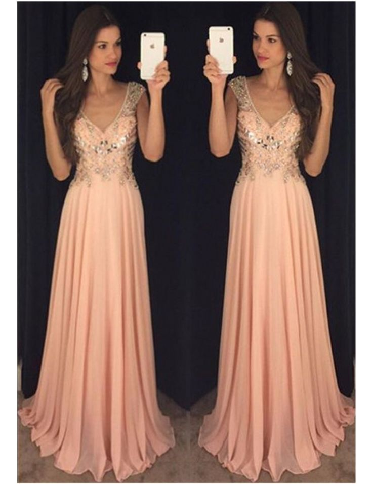 Charming Prom Dress,V Neck Chiffon Prom Dress ,Long