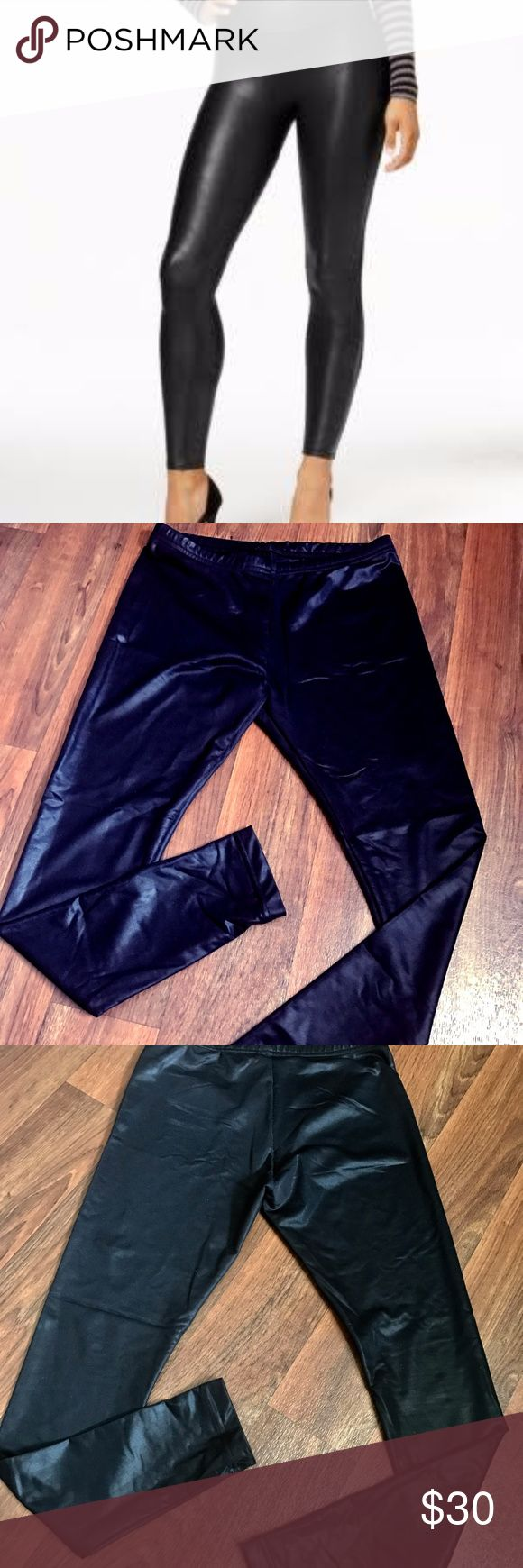 American Apparel Leather Stretch Leggings Excellent Condition, never worn, extremely stretchy, and can fit from Medium-XLarge sizes, are made for smaller legs. No damage at all.   Size: L  Color: Midnight Black  Smoke free home  Pet (Goldendoodle) Friendly home American Apparel Pants Leggings