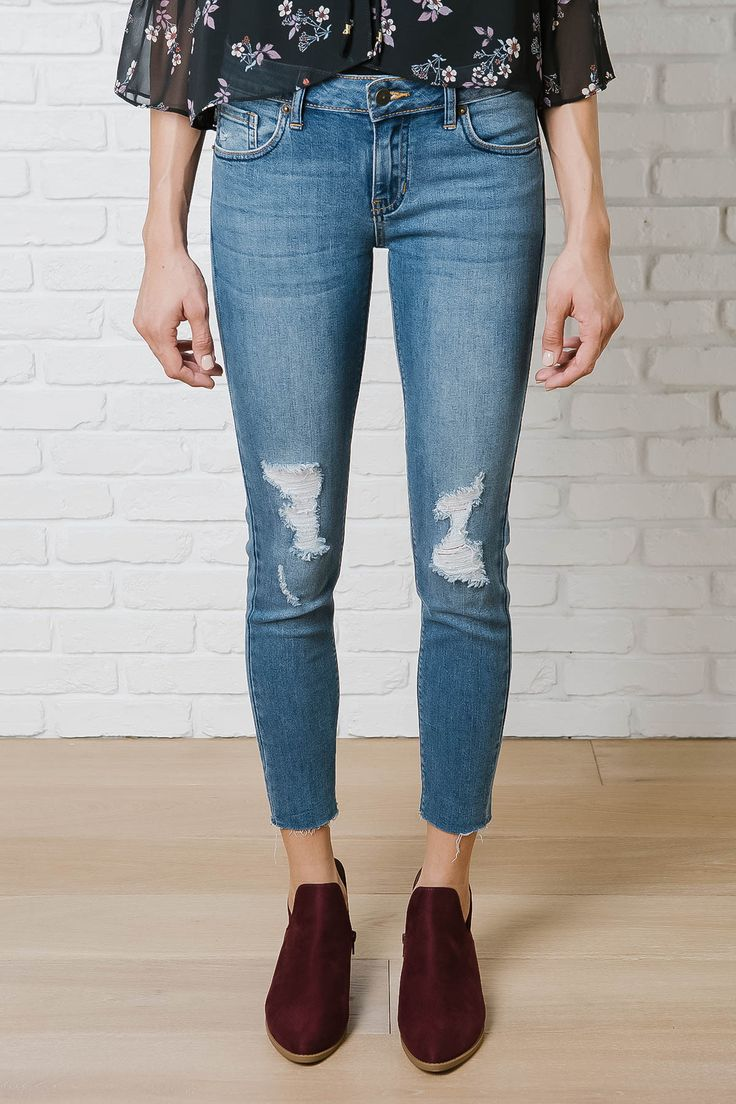 Distressed Cutoff Skinny Jeans By Just Black