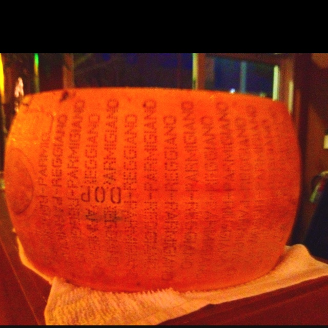 At Prima Strada pizzeria, they had this giant wheel of Parmesan cheese! Such great food!
