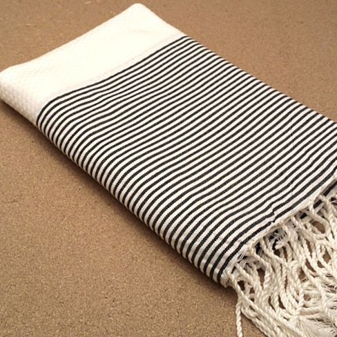 White/black Fouta towel! picnic blankets, couch throws, and beach towels!