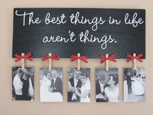 DIY wedding gift idea -clothes pin picture holder (wedding couple could add their own pictures after wedding but before that gift giver could add own [funny] photos)