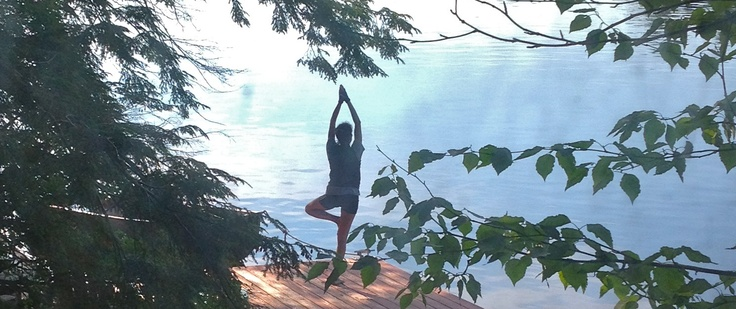 Doing yoga on the dock at our friend's cabin in the Adirondacks - perfect start to the day!