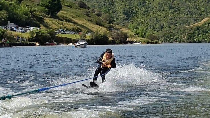 Riley rockin it on Lake Rotorangi.  First time on skis.
