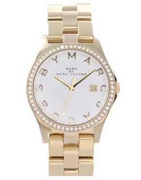 Marc By Marc Jacobs Gold Plate Steel Bracelet Watch With Crystal Bezel
