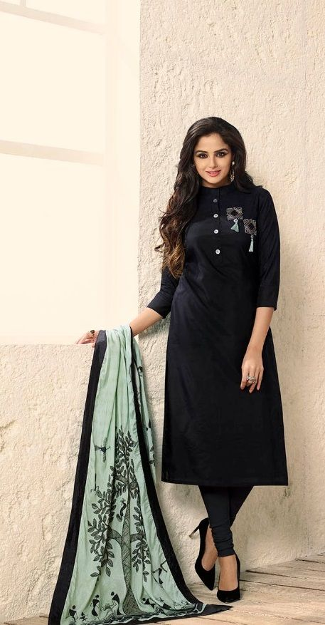 f27cfbba8c #black #silk #embroidery #designs #suits | black embroidered designs suit |  muslin silk fabric | offwhite dupatta | full sleeve suit | party wear |  casual ...