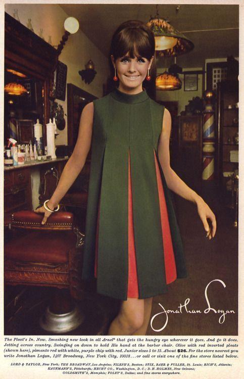 Jonathan Logan 1967    Vintage Kleid grün rot orange Shift Zelt stricken Babydo…