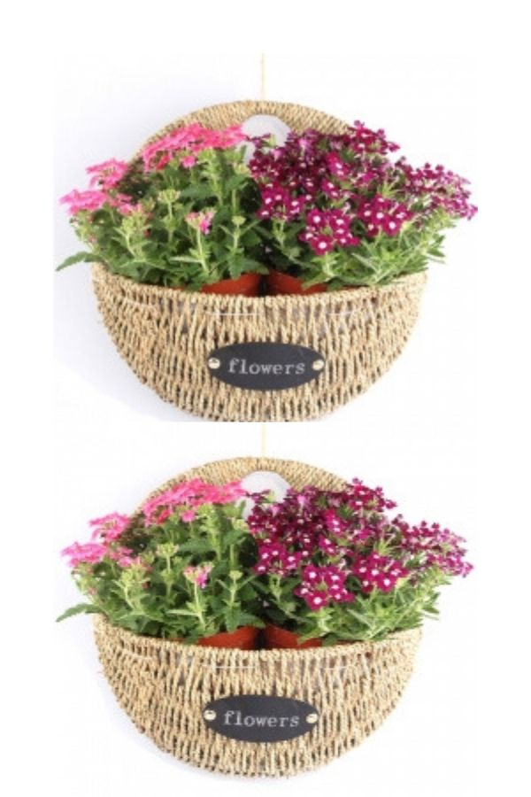 Ncyp Thank You Basket Wall Hanging Iron Straw Woven Flower Pot