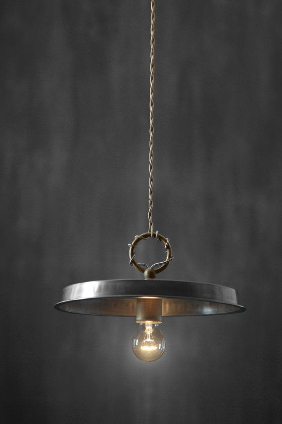 Industrial metal chandelier light with brass by MadameLampiere