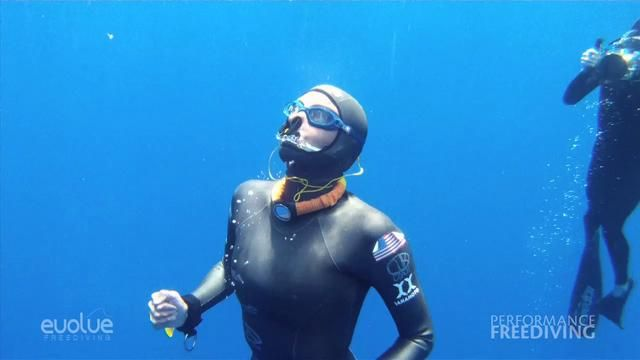 No Fins Freediving World Record Ashley Chapman 63 meters by Ren Chapman. May 4, 2012 Ashley Chapman breaks the Constant Weight No Fins World Record with a dive to 63 meters (207) at Performance Freediving's Deja Blue competition in Grand Cayman, Cayman Islands.  The record was previously held by multiply World Record holder Natalia Molchanova who made a dive to 62 meters in 2009.