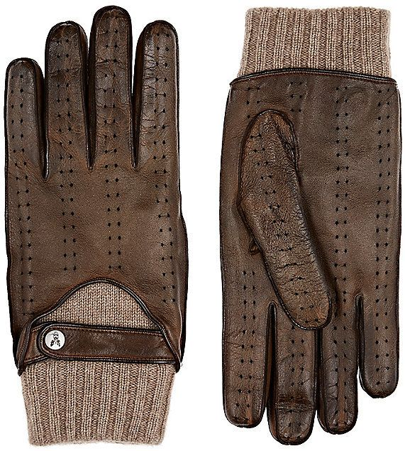 Christophe Fenwick Men's Le Mans Driving Gloves-BROWN, TAN