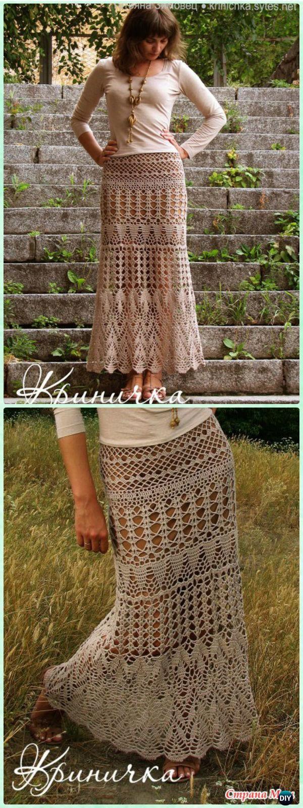 Crochet Evening Lace Maxi Skirt Free Diagram - Crochet Women Skirt Free Pattern