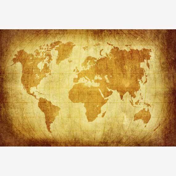 Vintage wereldkaart voor aan de muur. Op diverse materialen verkrijgbaar.  #historische #wereldkaarten