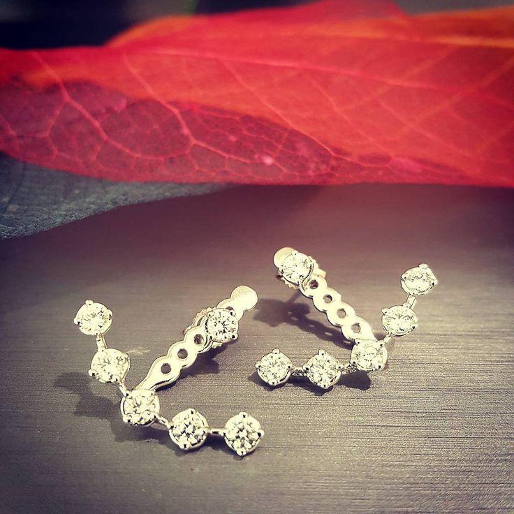 1ct Diamond earrings (jacket style) set into 18k White Gold.