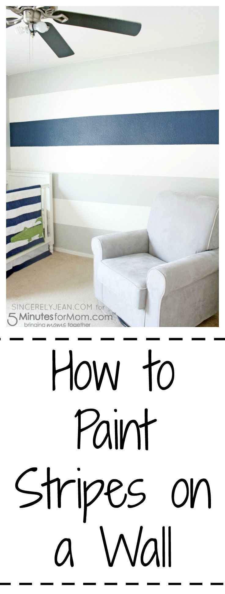Learn how to paint stripes on a wall - easy tutorial! | www.sincerelyjean.com