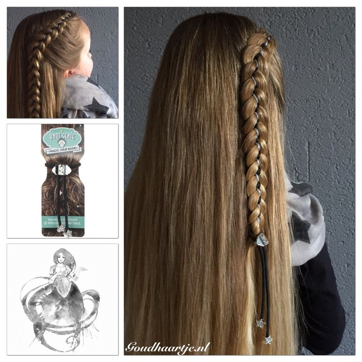 Five strand ribbon braid with a amazing new product: the Magic Hair Band from Knot Genie! Now available at Goudhaartje.nl #halfup #fivestrandbraid #ri...