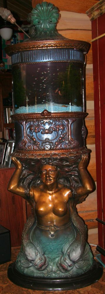 Rare Nude Mermaid Aquarium Fish Tank Bronze Sculpture Artist - A. Matthews