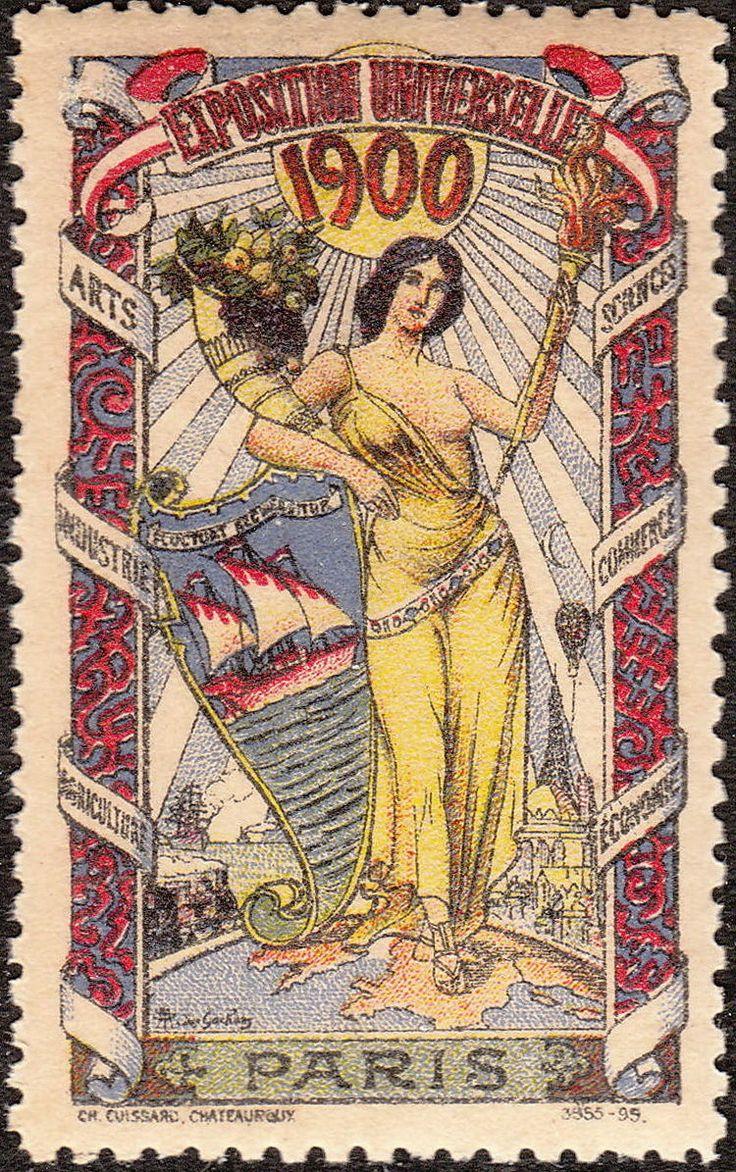 Stamp Label France Exposition 1900 Poster Cinderella ...