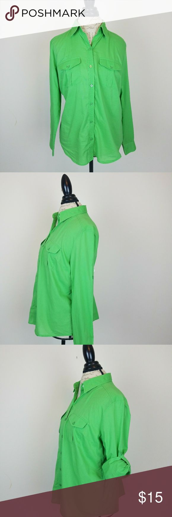 NEW YORK & COMPANY WOMEN'S  GREEN SHIRT Size Large. Adjustable Sleeve. New York & Company Tops Button Down Shirts